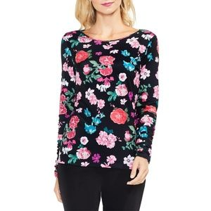 New Nordstrom Vince Camuto Floral Ruche Sleeve Top